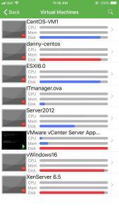 List of VMs
