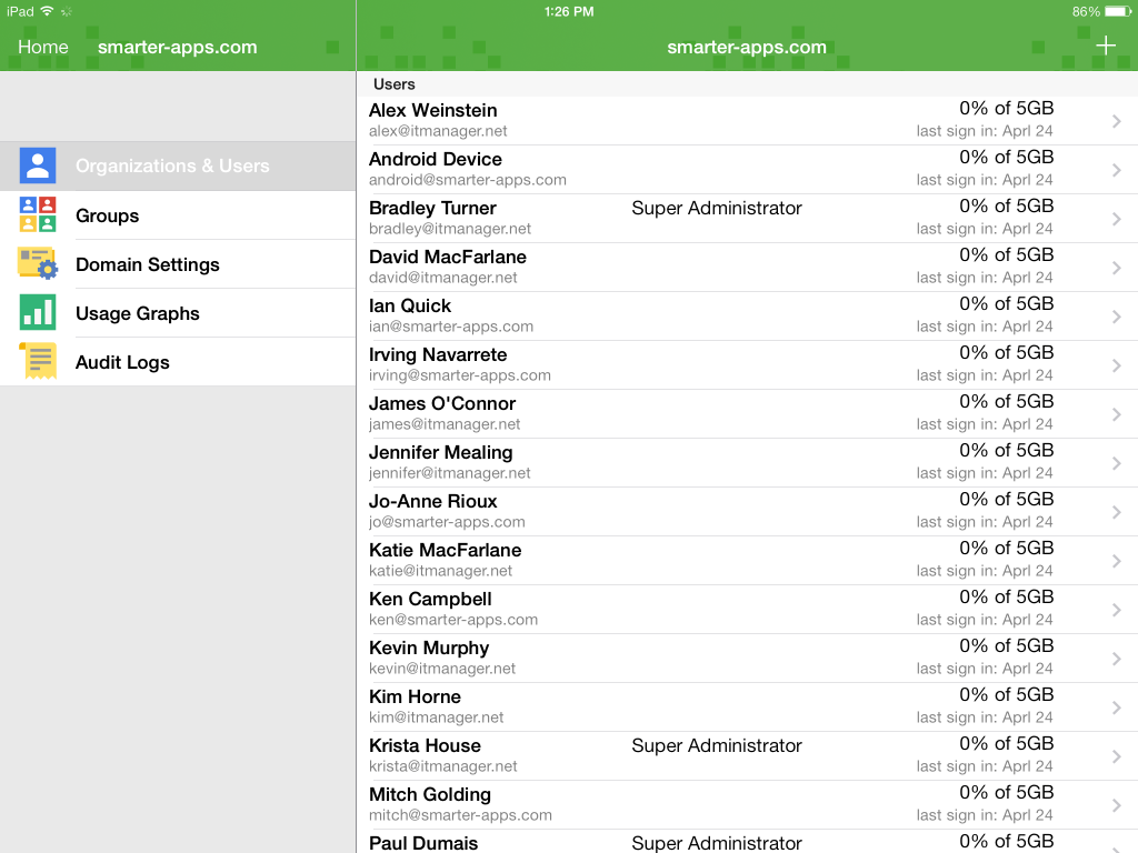 Google Apps Main (iPad)